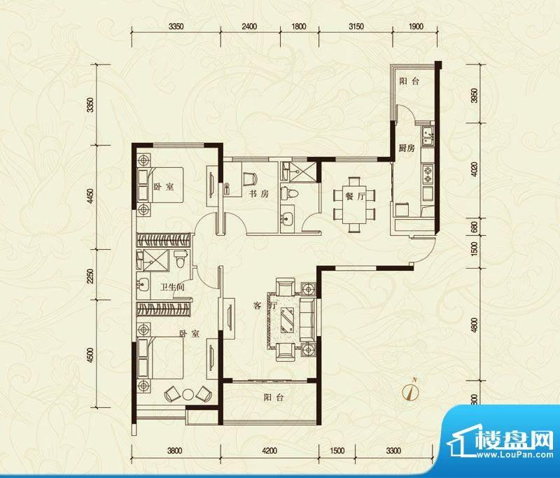 恒大城A户型图 3室2面积:144.35平米