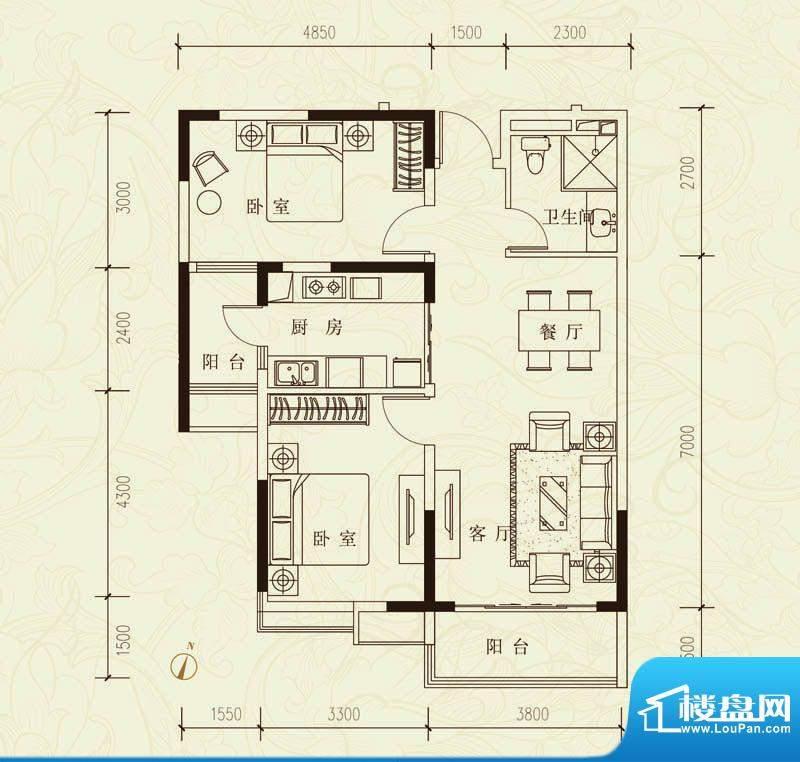 恒大城B/C户型图 2室面积:99.11平米