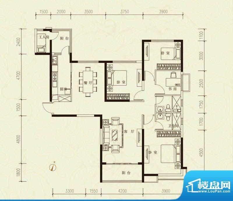 恒大城D户型图 5室2面积:171.56平米