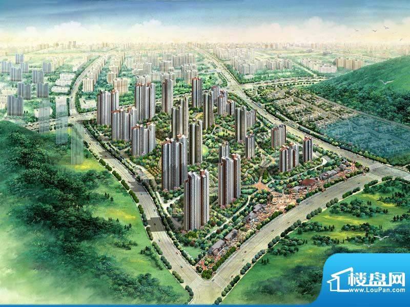 济南鲁能领秀城中央公园鸟瞰效果
