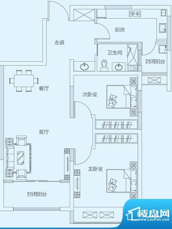 济南鲁能领秀城3#5#面积:88.00平米