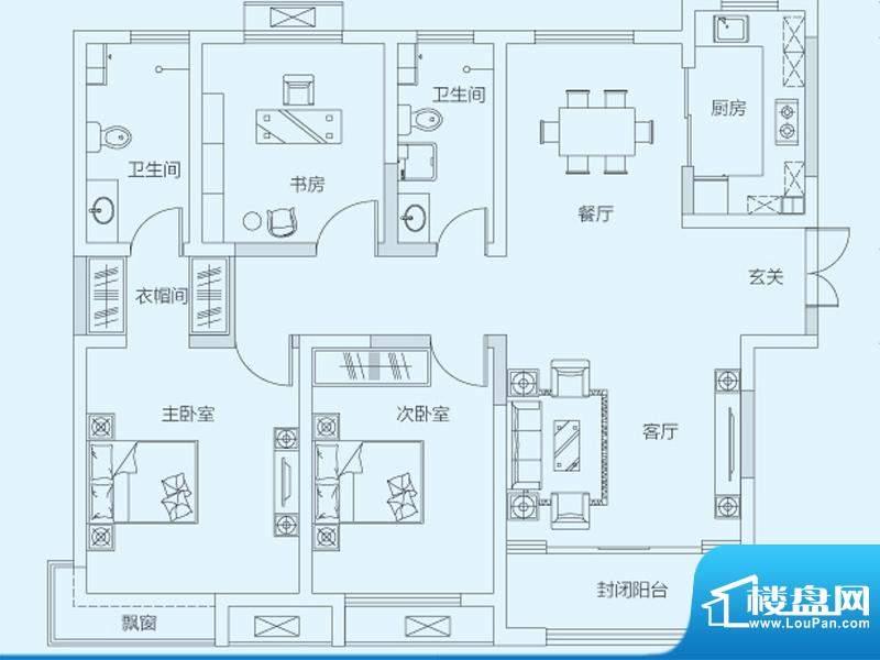 济南鲁能领秀城4#8#面积:128.00平米