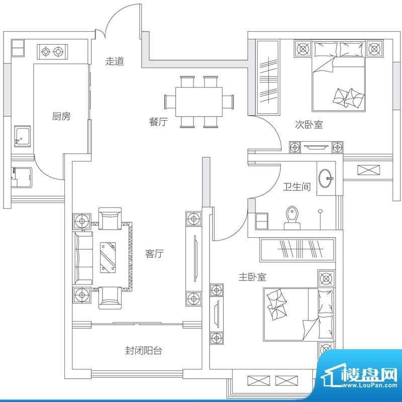 济南鲁能领秀城中央面积:95.00平米