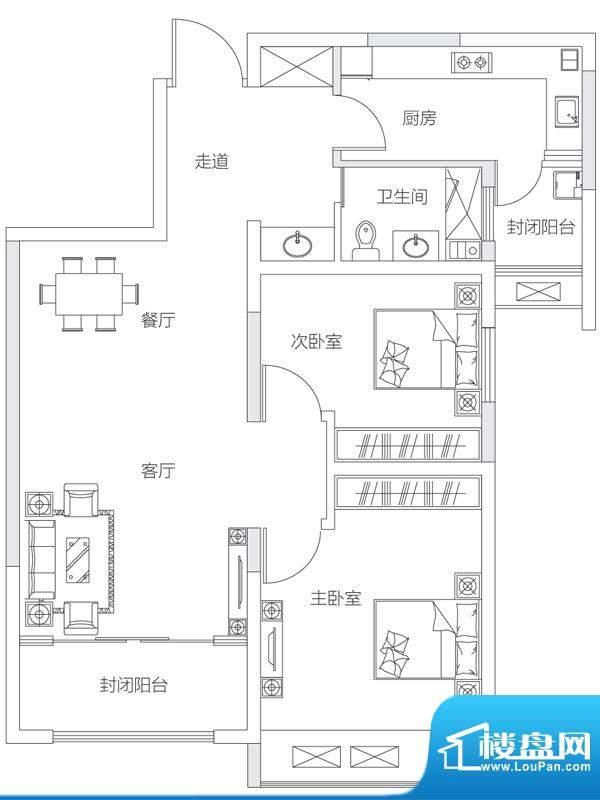 济南鲁能领秀城中央面积:88.00平米