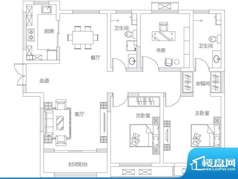 济南鲁能领秀城中央面积:128.00平米
