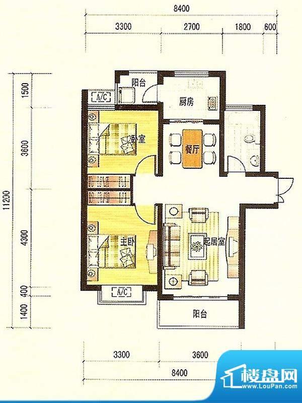 济南鲁能领秀城UPA2面积:83.44平米