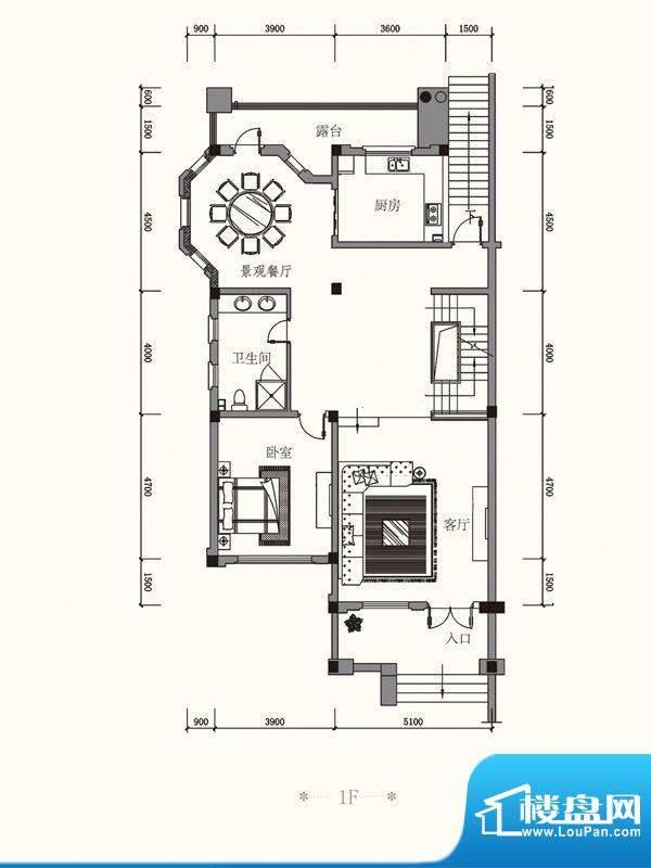 原山九号A双拼1F户型面积:485.75平米