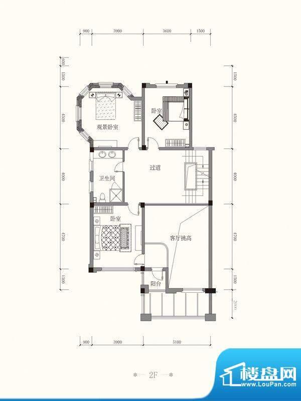 原山九号A双拼2F户型面积:485.75平米