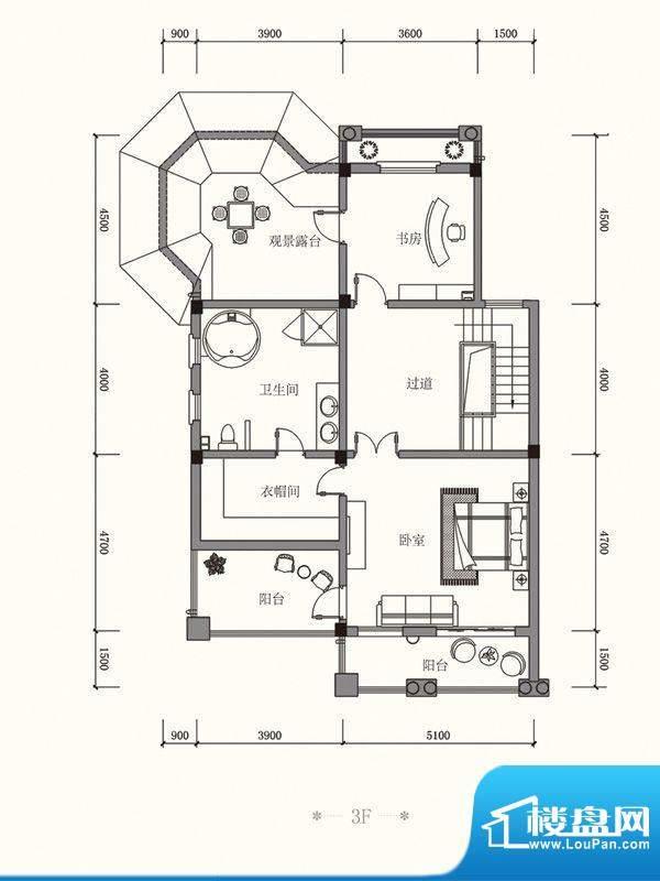 原山九号A双拼3F户型面积:485.75平米