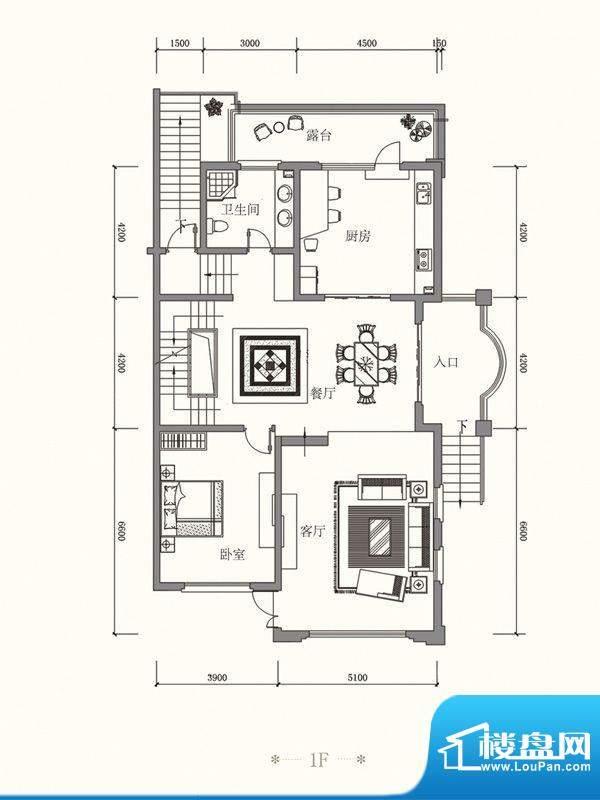 原山九号B双拼1F户型面积:511.11平米