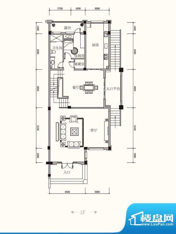 原山九号C联排1F户型面积:457.54平米