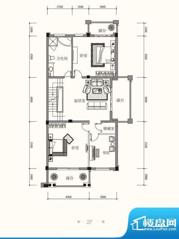 原山九号C联排2F户型面积:457.54平米
