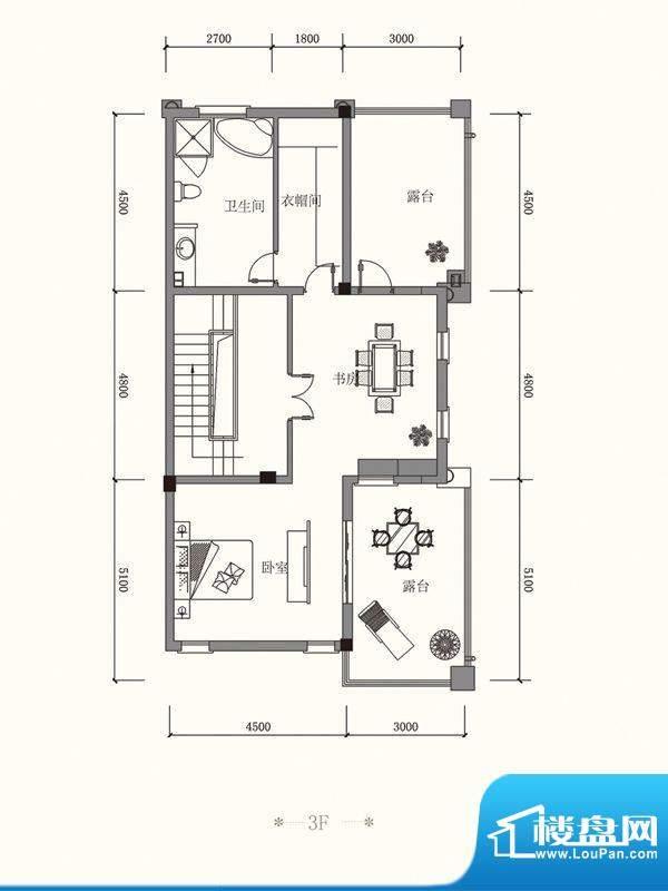 原山九号C联排3F户型面积:457.54平米