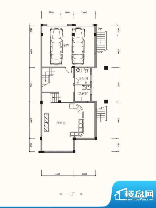原山九号C联排-1F户面积:457.54平米