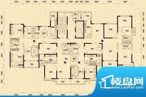 恒大御景3#楼高层1-面积:171.98平米