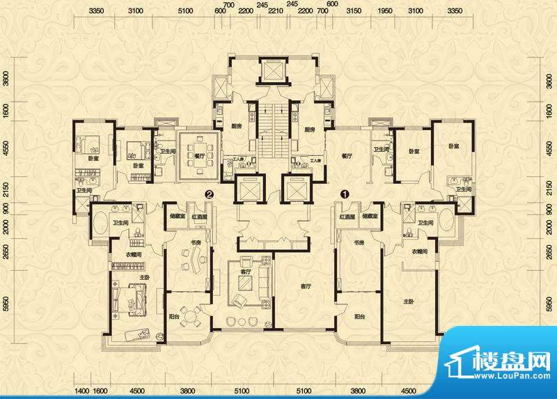 恒大御景5#楼1-3单元面积:296.07平米