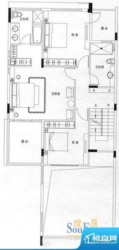 山水龙盘上叠墅 3室面积:110.00平米