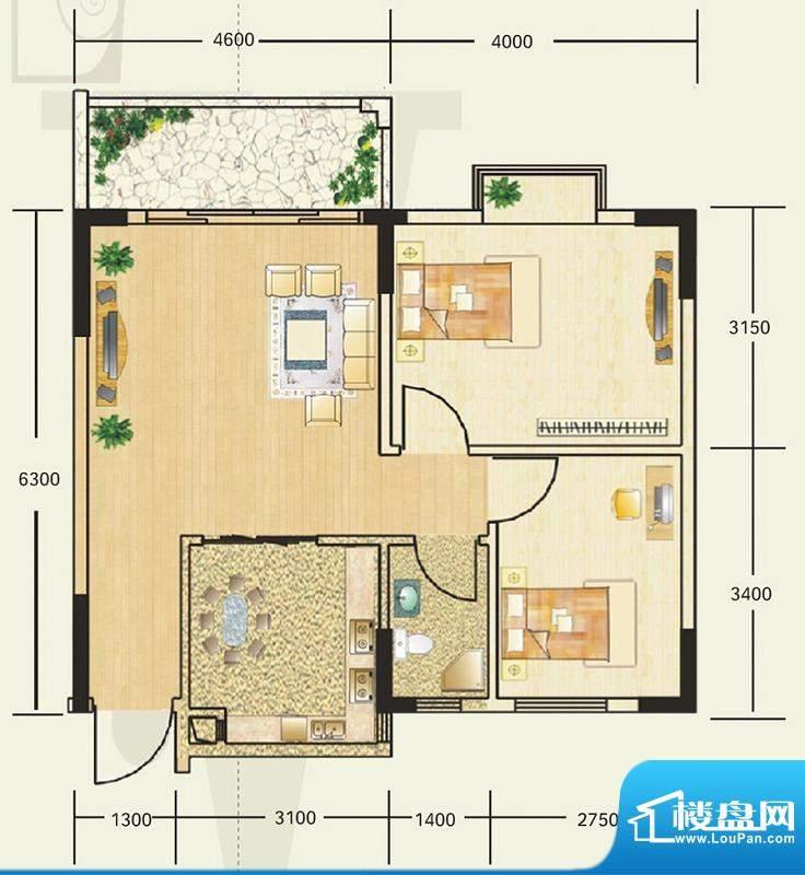 雍翠新城6-8座02户型面积:70.00平米