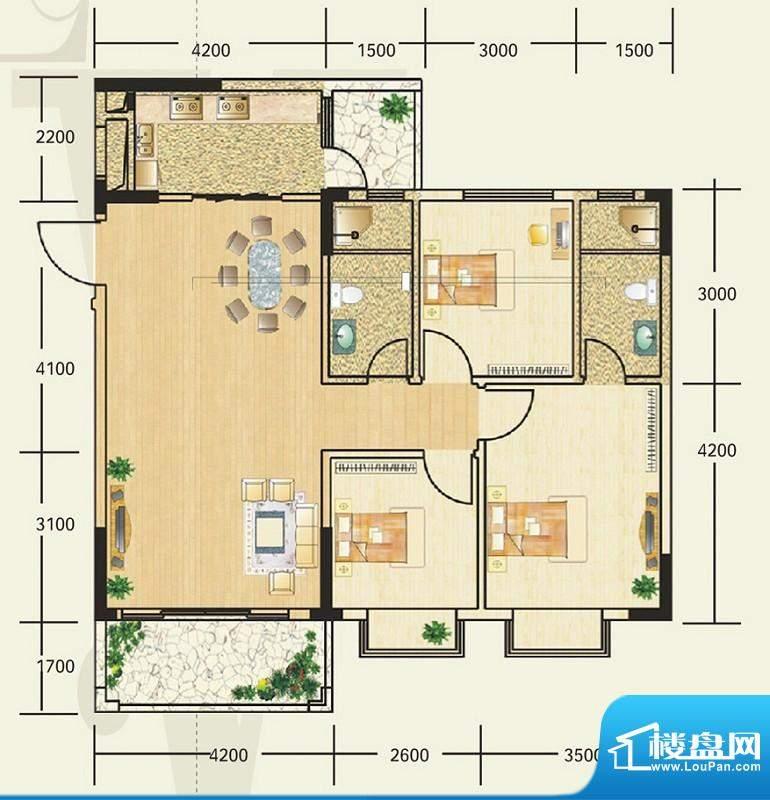 雍翠新城6-8座03与0面积:105.00平米