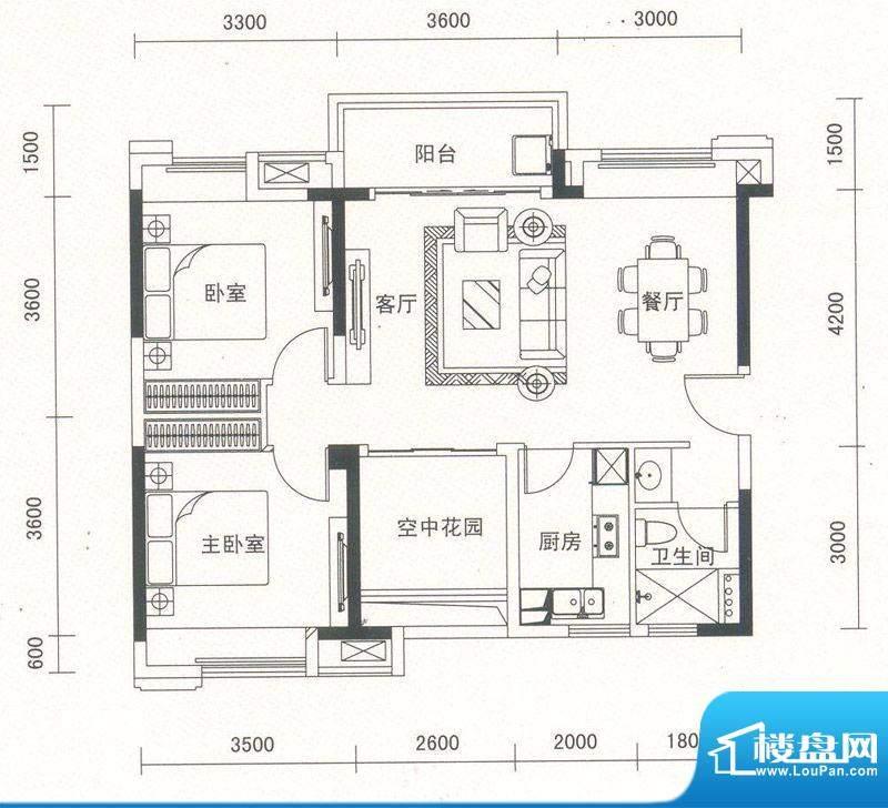 沿海馨庭A1户型 3室面积:90.00平米