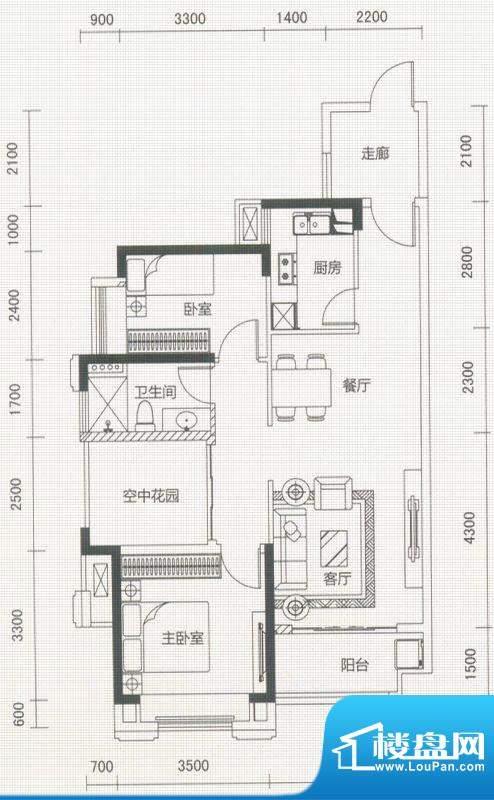 沿海馨庭A2户型 3室面积:90.00平米