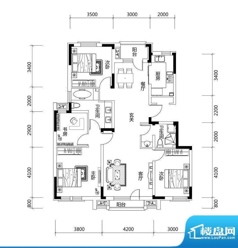 绿地中央墅D户型户型面积:135.00平米