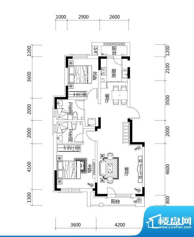 绿地中央墅B1户型户面积:100.00平米