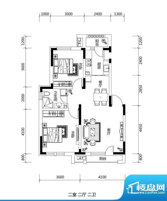 绿地中央墅A户型户型面积:80.00平米