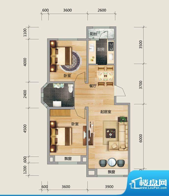 良品柏宏爱琴湾4#楼面积:96.09平米