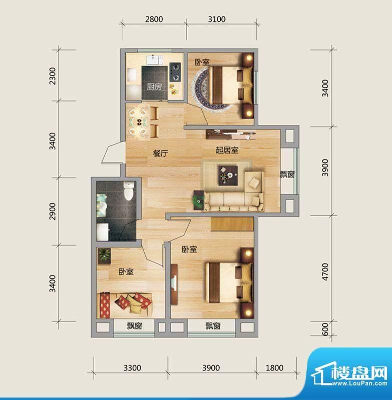 良品柏宏爱琴湾4#楼面积:96.85平米