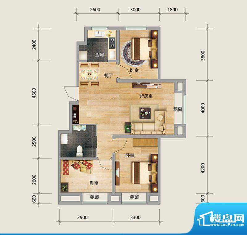 良品柏宏爱琴湾5#楼面积:100.23平米