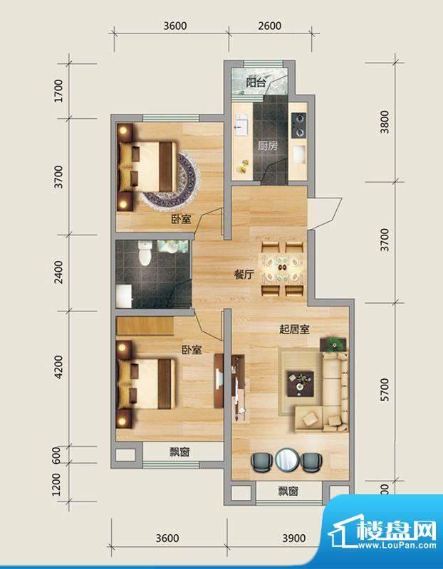 良品柏宏爱琴湾5#楼面积:95.31平米