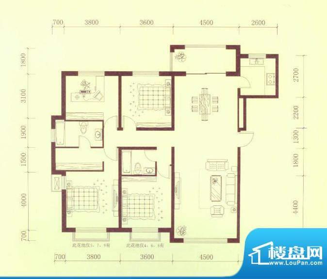 隆都翡翠湾一期B户型面积:160.00平米