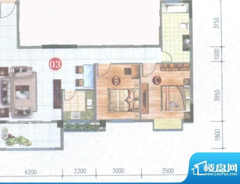 御璟上院03单元 2室面积:84.28平米