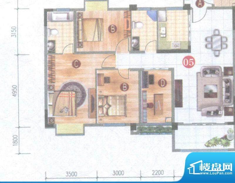 御璟上院05单元 4室面积:118.76平米