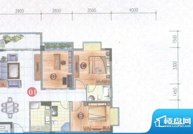 御璟上院01单元 3室面积:88.37平米