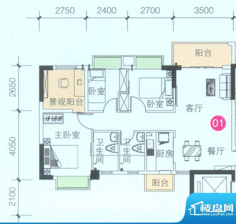 联诚·智博E区2座4座面积:89.11平米