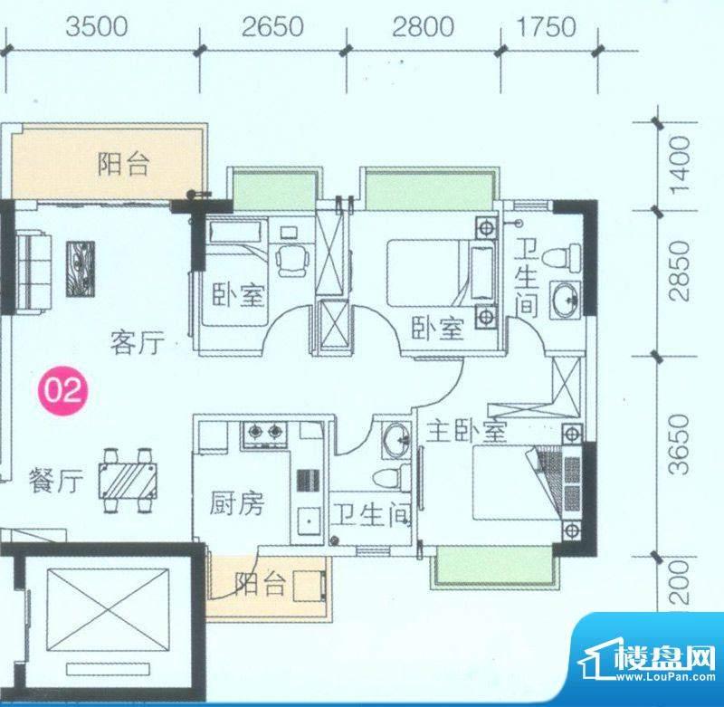 联诚·智博E区2座4座面积:88.19平米