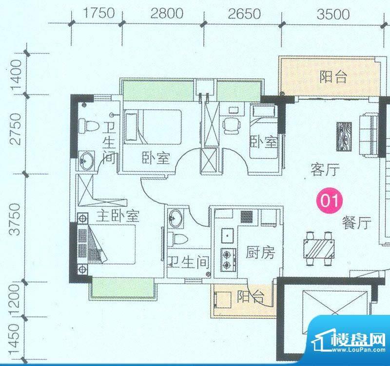 联诚·智博E区1座3座面积:88.21平米