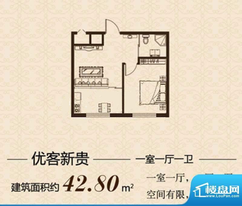 益和国际城A户型图 面积:42.80平米