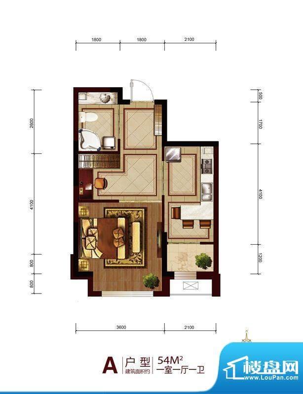 六合一方一期A户型图面积:54.00平米