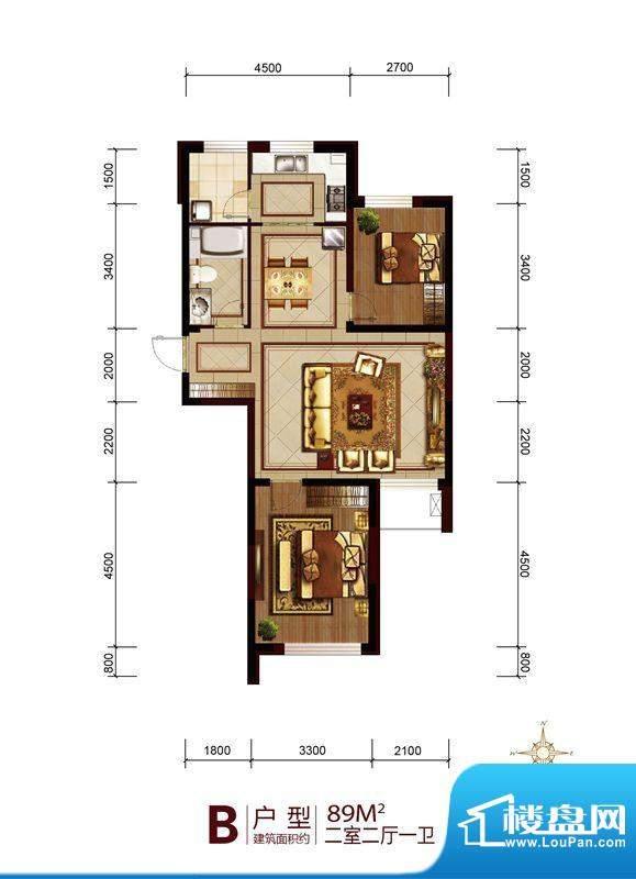 六合一方一期B户型图面积:89.00平米
