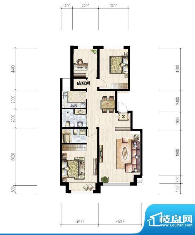 六合一方I户型图 3室面积:118.10平米