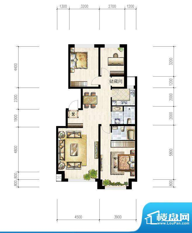 六合一方G户型图 3室面积:115.90平米