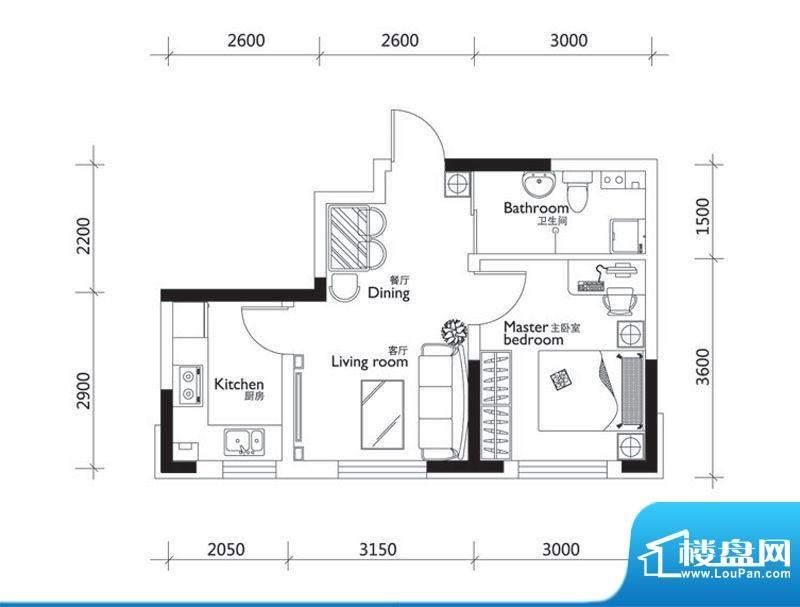 万龙第十城D3户型图面积:46.52平米