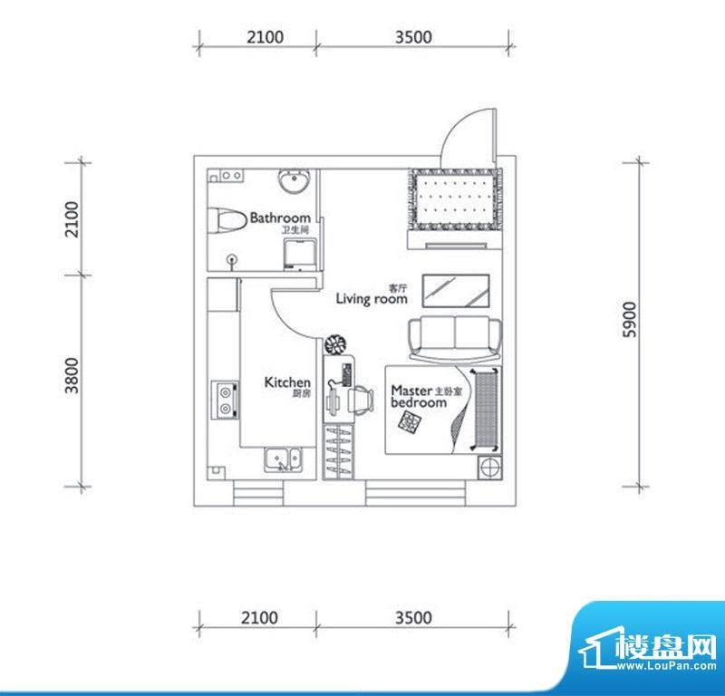万龙第十城D-1户型图面积:40.33平米