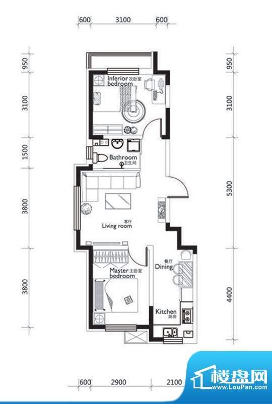 万龙第十城C4-1户型面积:70.04平米