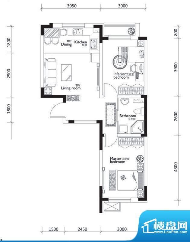 万龙第十城C3户型图面积:69.84平米