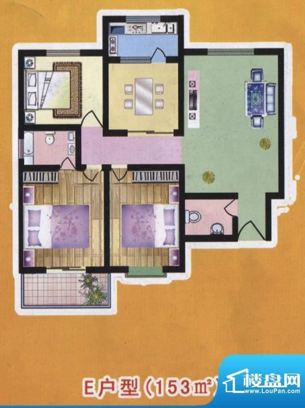 阳光公寓标准层E户型面积:153.00m平米