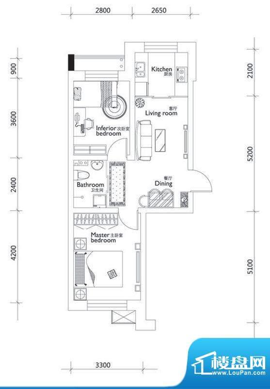 万龙第十城C-1户型图面积:60.29平米